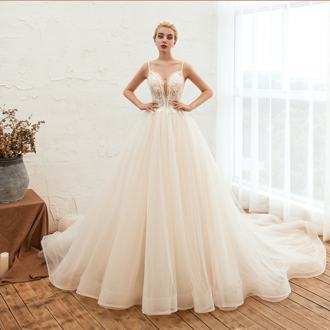 Elegant wedding dresses A line | Wedding dresses with lace online