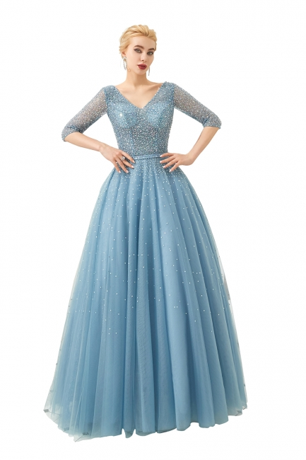 Evening dresses blue | Prom dresses long with sleeves