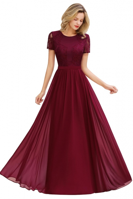 Elegant Long Evening Dresses Cheap   Wine red prom dresses