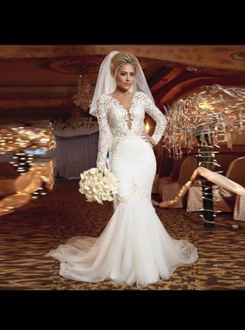 Elfenbein Brautkleider Lang Ärmel Spitze Hochzeitskleider Meerjungfrau Brautmoden