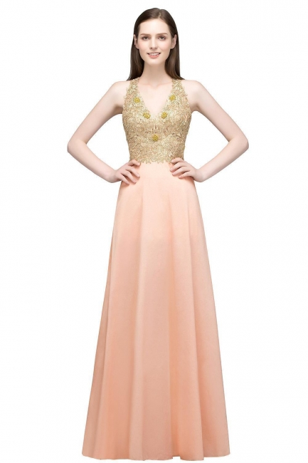 Cheap Evening Dresses Long V Neck | Evening dress with lace