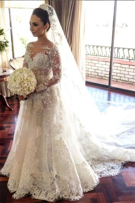 Nachmäßig Anfertigen Weiß Brautkleider Mit Ärmel Spitze A Linie Hochzeitskleider