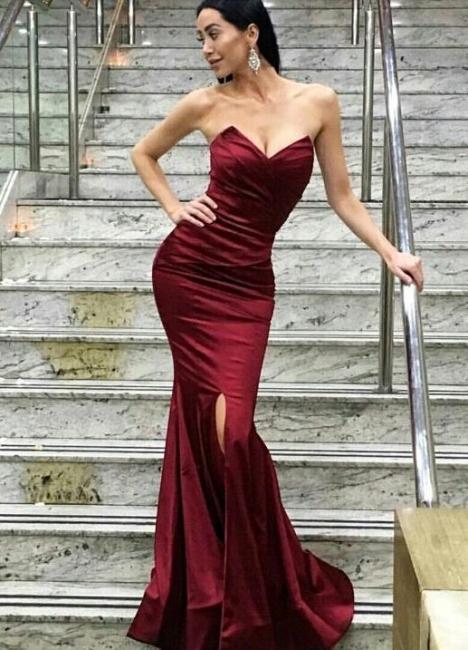 Burgundy Evening Dresses Long Satin Heart Mermaid Evening Wear Party Dresses Cheap Online