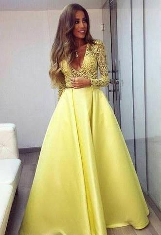 Evening Dress Yellow Long Sleeves Lace A Line V Neckline Evening Dresses Prom Dresses