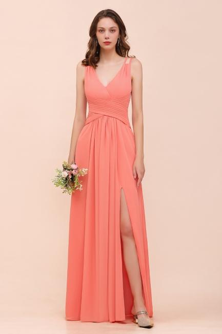 Schlichte Brautjungfernkleider Lang | Coral Brautjungfernkleid Günstig