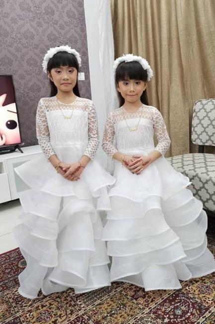 Bblumenmädchen Kleid Spitze | Blumenmädchenkleid Langarm