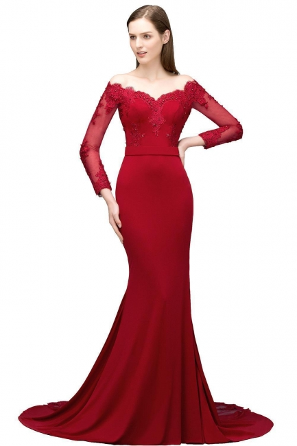 Designer Abendkleider Lang Rot | Abiballkleider mit Ärmel