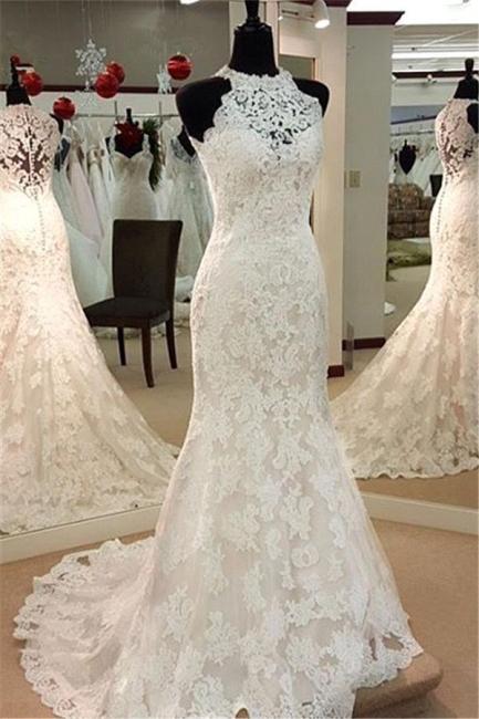 Wedding dresses lace mermaid white wedding fashion for chubby women cheap