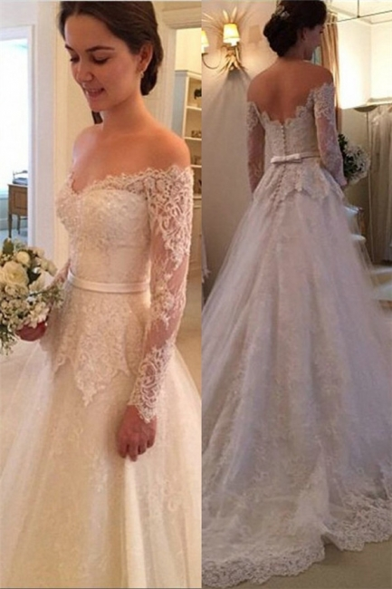 A-Line Wedding Dresses White With Sleeves Schuterfrai Tulle Wedding Fashions