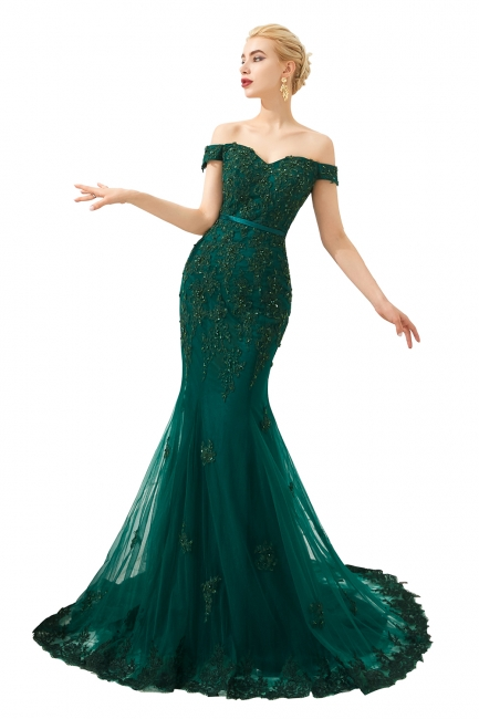 Evening dress green | Long lace prom dresses