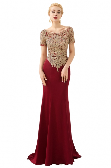 Evening dresses long glitter | Red prom dresses with sleeves