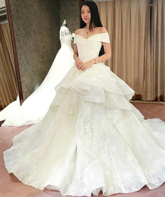 Schicke Weiß Brautkleider Spitze Blumen Organza Hochzeitskleider Nachmaße