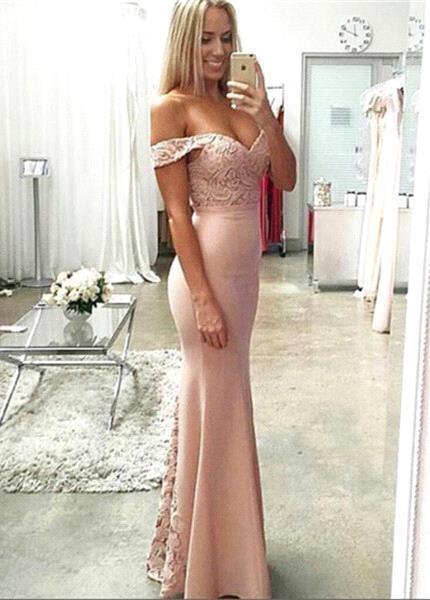 Rosa Abschlussballkleider Lang Günstig Spitze Meerjungfrau Abendmoden Abiballkleider