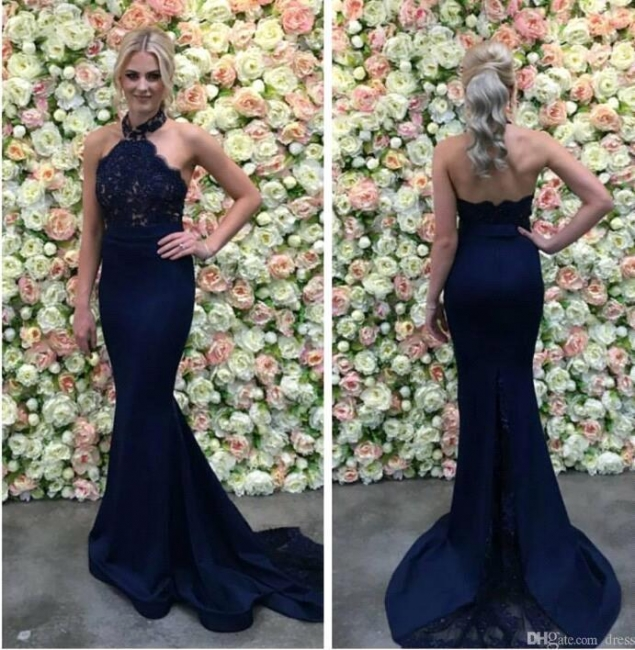 Dark blue evening dresses order online mermaid evening dress lace online