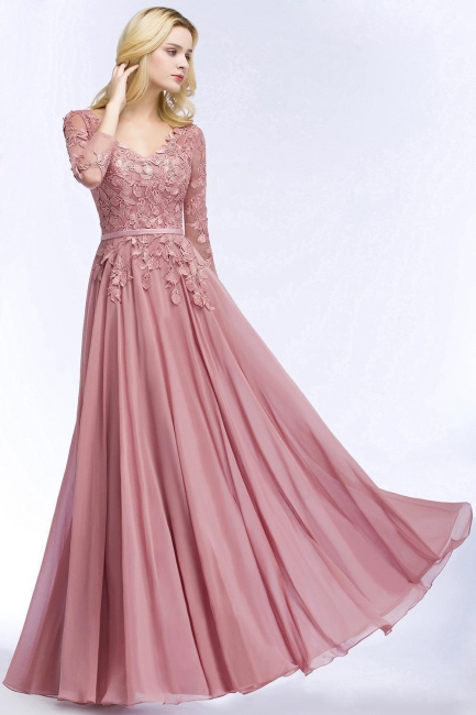 Pink evening dress long V neckline | Prom dresses lace sleeves