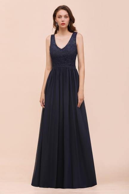 Brautjungfernkleider Lang Navy Blau | Chiffon Kleider Für Brautjungfern