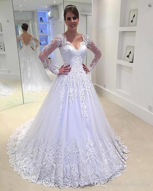 Weiß Brautkleider Lang Ärmel Mit Spitze V Ausschnitt Tüll Hochzeitskledier