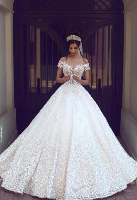 Weiß Brautkleid Spitze Schulterfrei Prinzessin Hochzeitskleider Brautmoden Günstig