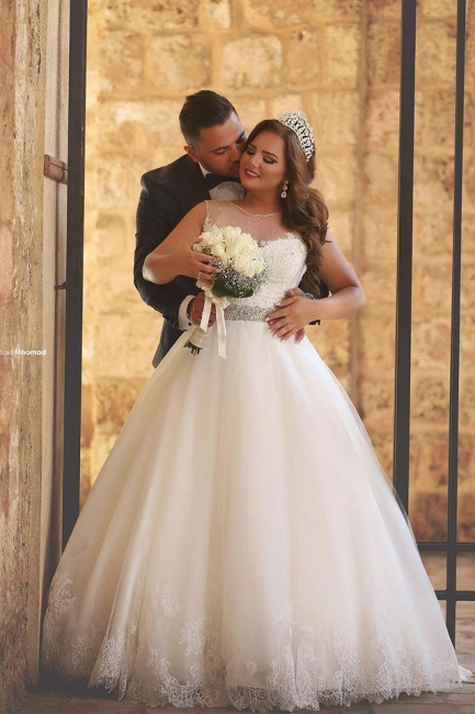 White Plus Size Wedding Dresses Tulle With Lace Bridal Floor Length Cheap Online Wedding Dresses Plus Size