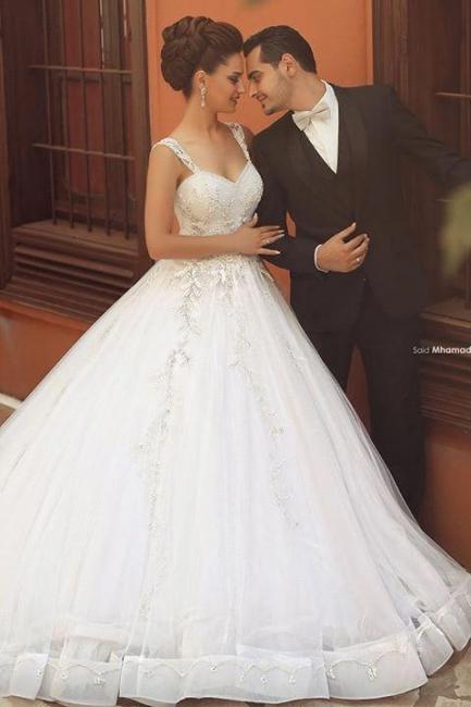 Weiß Brautkleider Perlen Träger Organza Hochzeitskleider Brautmoden
