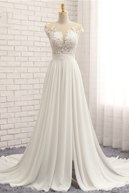 Summer Chiffon Dresses For Wedding | Wedding dresses a line with lace