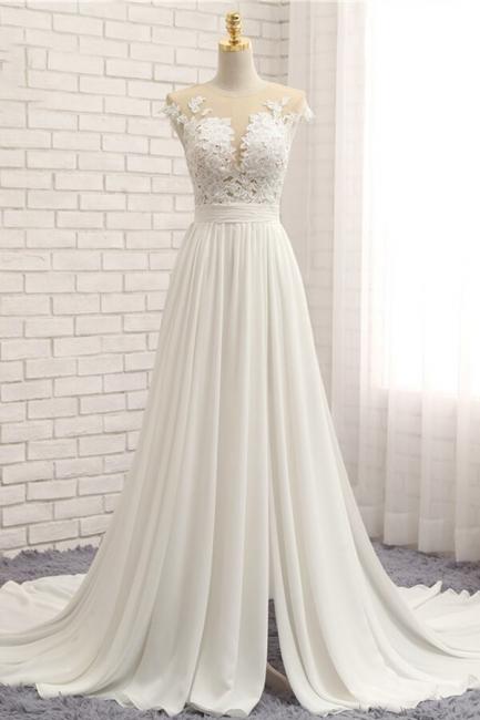 Summer Chiffon Kleider Für Hochzeit | Brautkleider A Linie Mit Spitze