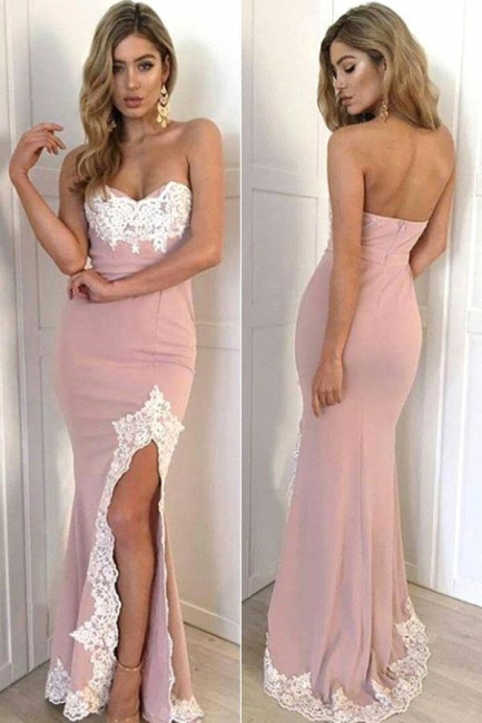 Pink evening dresses long with lace cheap evening dresses prom dresses online