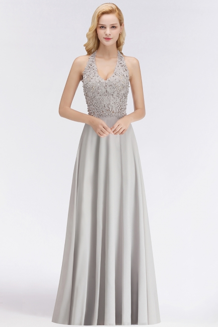 Silver Evening Dresses Long V Neck | Evening dress with lace