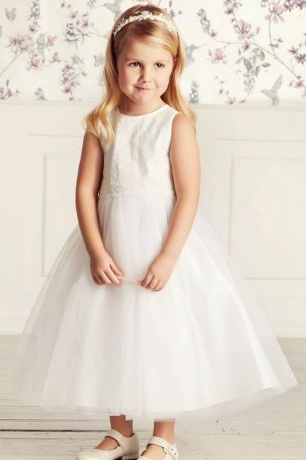 Blumenmädchen Kleid Spitze | Kinder Blumenmädchen Kleider Weiß