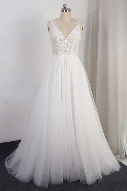 Schlichte Brautkleid A Linie | Hochzeitskleider mit Spitze