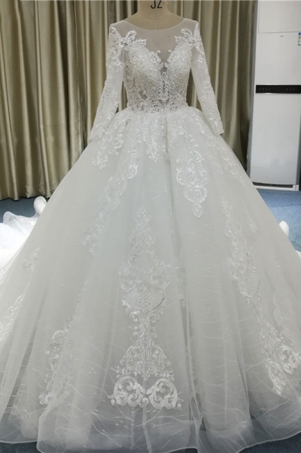 Lace wedding dresses princess | Wedding dresses with sleeves