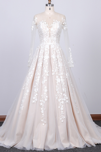 Elegant wedding dress A line | Lace bridal wear with sleeves