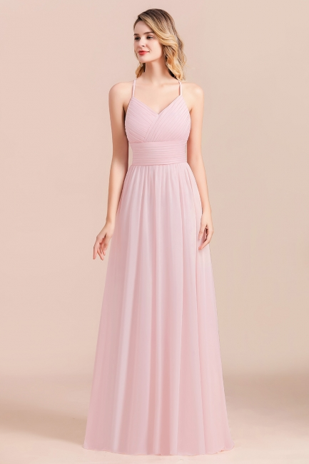 Brautjungfernkleid Lang Rosa | Günstige Brautjungfernkleider