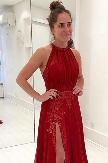 Chic Evening Dresses Long Cheap Chiffon Lace Sheath Dress Evening Fashion