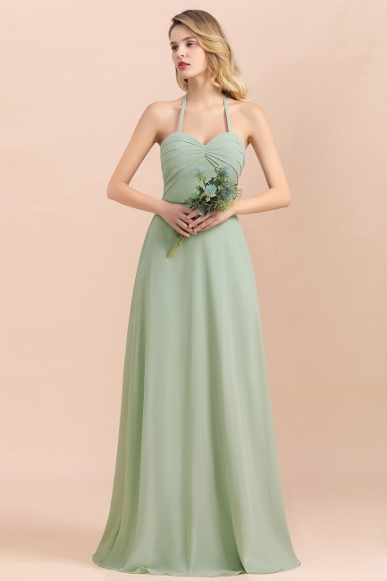 Grüne Brautjungfernkleider Lang Chiffon   Günstige Hochzeitspartykleider