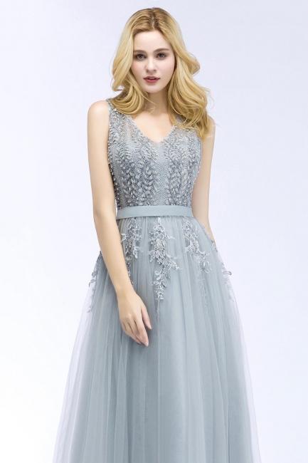 Designer Evening Dress Long V Neck | Silver prom dresses cheap