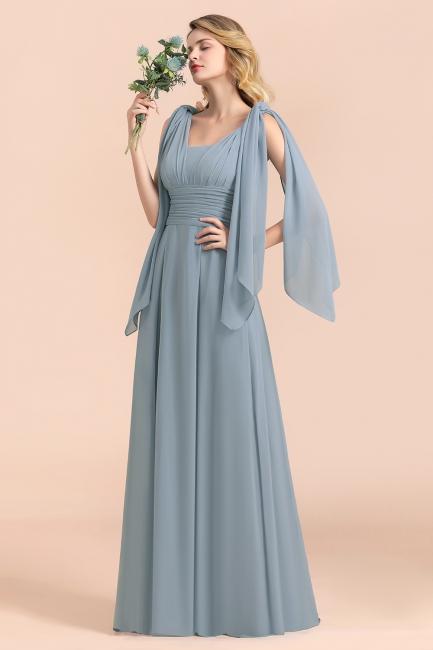 Steel Blue Brautjungfernkleider Lang |  Chiffon Kleider Günstig