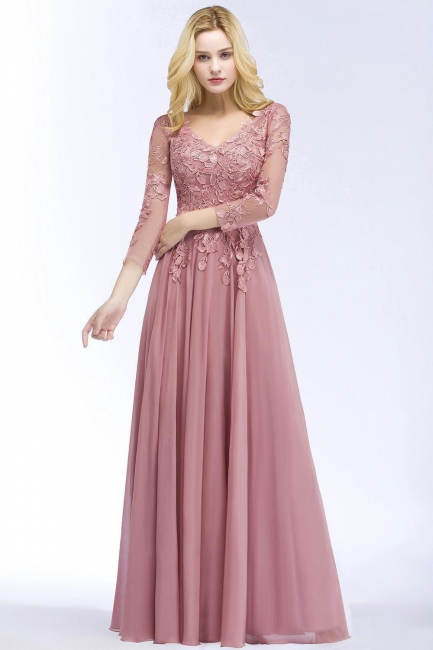 Pink evening dress long V neckline | Prom dresses lace sleeves