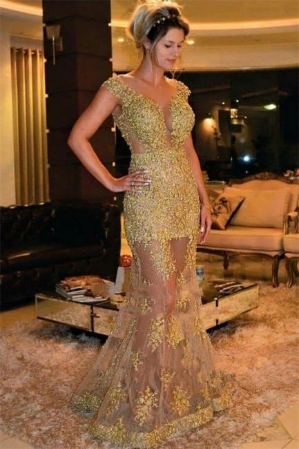 Fashion Kleider Abendkleider Spitze Lang Meerjungfrau Golden Abtanzballkleider Lang