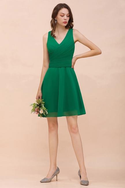 Grüne Brautjungfernkleider Kurz   Günstiges Brautjungfernkleid Chiffon