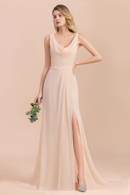 Champagne Brautjungfernkleider Lang | Chiffon Kleider Für Brautjungfern