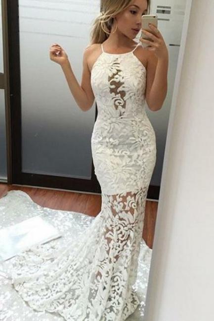 Schlicht Weiße Abendkleider Lang Spitze Meerjungfrau Abendmoden Abiballkleider Online