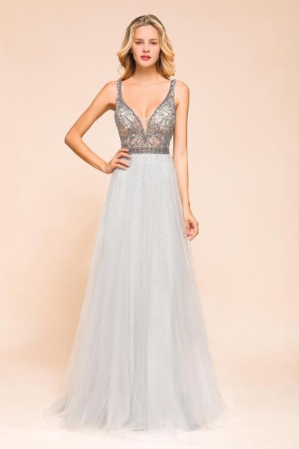 Elegante Abendkleider Lang Weiß   Abiballkleider mit Glitzer