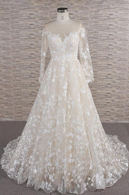 Lace wedding dress A line | Wedding dresses with sleeves