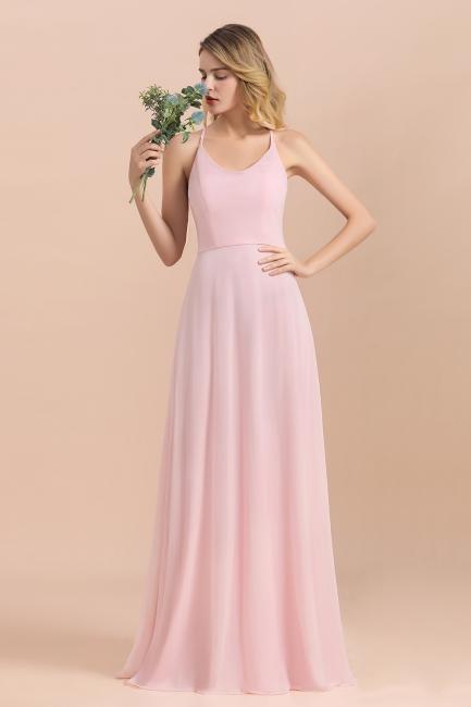 Günstige Brautjungfernkleider Lang Rosa | Schlichtes Abendkleid