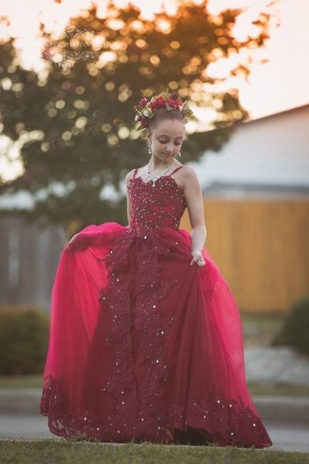 Flower girl dresses red | Flower girl dress tulle
