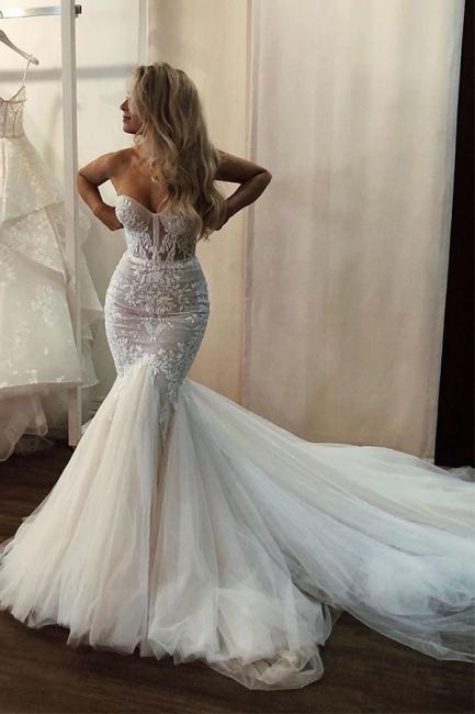 Elegante Brautkleider mit Spitze | Hochzeitskleider Meerjungfrau Online