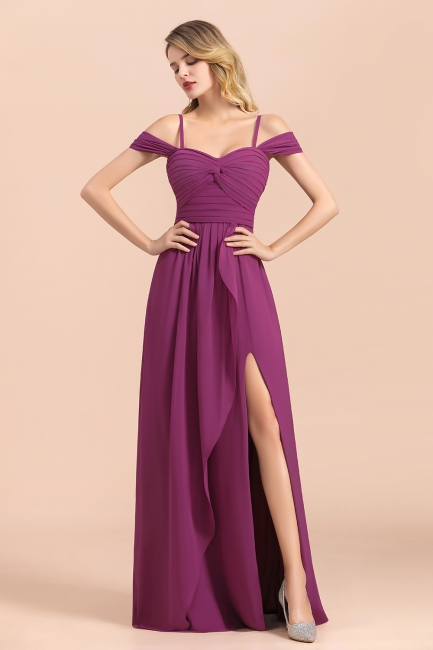Purpur Brautjungfernkleider Lang Chiffon | Kleider Für Brautjungfern
