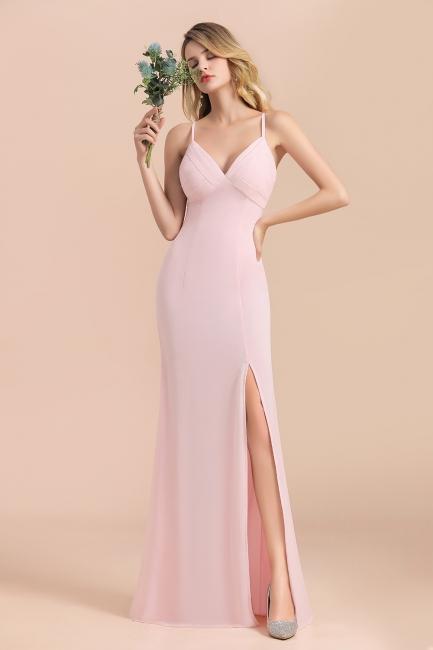 Rosa Brautjungfernkleider Lang Chiffon | Günstige Hochzeitspartykleider