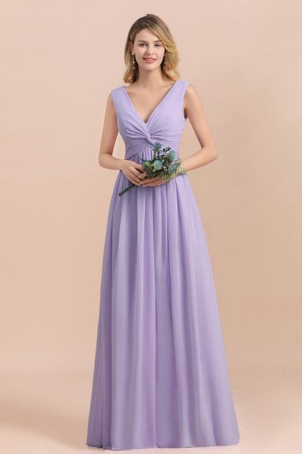 Lilac Brautjungfernkleider Lang Chiffon | Hochzeitspartykleider Günstig